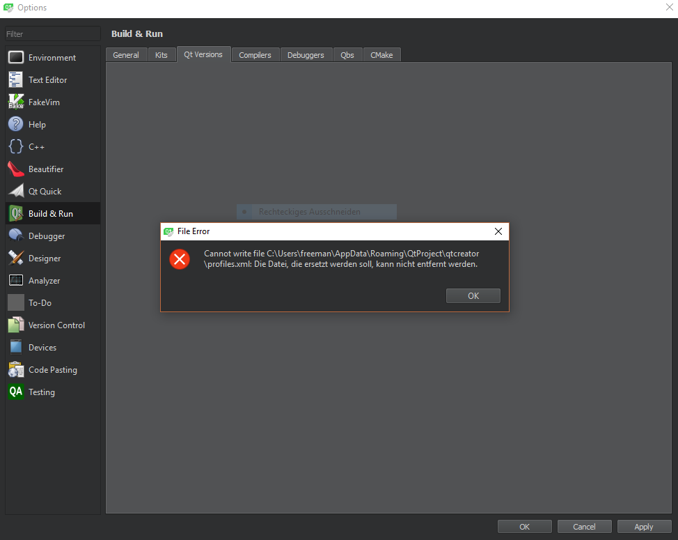 QTCREATORBUG-7668] Qt Creator cannot write to default qws - Qt Bug